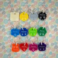 Dog Tags MEDIUM Dog Tag Pet ID Personalised Engraved Acrylic 12 Colours 8 Shapes