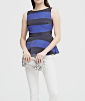 Banana Republic Blue And Black Striped Sleeveless Dressy Peplum Top Size 00P NWT