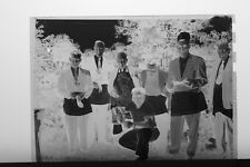 (1) B&W Press Photo Negative Men Aprons Standing with Lobster Claws - T4332