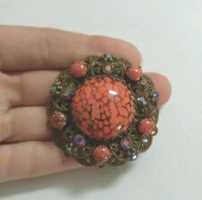 Vintage West Germany Signed Filigree Brass Orange Glass Stone Crystal Brooch Pin