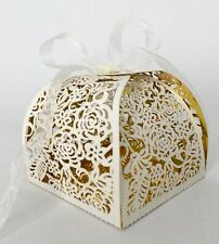 New - 50 Laser Cut Rose Party Favor Box with Ribbon - Gold/White Dual Sides