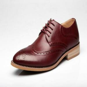 Men Formal Oxford Mid Heel Leather Carved Brogue Pointy Toe Hollow Out Shoe N151