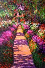 """Claude Monet  Reproduction  Oil Painting - Garden Path at Giverny - size 24x36"""""""