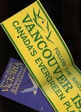 c. 1940s VICTORIA BC FOLLOW THE BIRDS Brochure & Wire-On Bumper Sticker