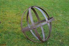 Medium rusty wrought iron riveted ornamental sphere garden ball sculpture