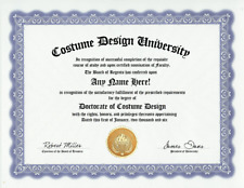 COSTUME DESIGNER DIPLOMA-DESIGN DESIGNING COSTUMING- CUSTOM GAG GIFT CUSTOMIZED!