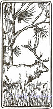 Elk & Pine Tree Rectangle Wood Mounted Rubber Stamp Northwoods Stamp O9520 New