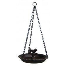 Hanging Birdbath Cast Iron Bird Feeder Patio Garden Yard Decor with Center Bird