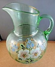 """Antique Green Enameled Glass Large Victorian Pitcher Gold Trim Wild Flowers 11"""""""