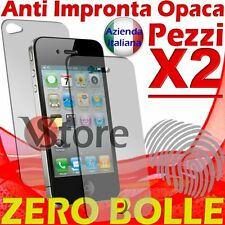 2 X Pellicola Opaca Per iPhone 4 4S Salva Display Fronte Retro AntiIriflesso