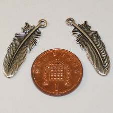 2 Silver Feather Metal Beads; Size 30mm