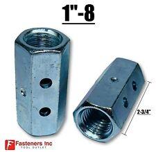 1 8 X W1 38 X L 2 34 Hex Threaded Rod Coupling Nut Zinc W Witness Holes
