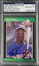 Ken Griffey Jr Signed 1989 Donruss Rookies RC Card #548 PSA/DNA Gem 10 Autograph