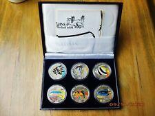 Korea 6 x 500 Won 1996 Silber PP , Ag.999er ** Fische in Farbe ** nur 1950 Ex.