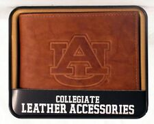 Auburn Tigers NCAA Embossed Leather Billfold Wallet NEW in Gift Tin