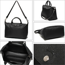 NEW Longchamp Exclusive Le Pliage Neo Black Shoulder Medium Tote Bag!!!