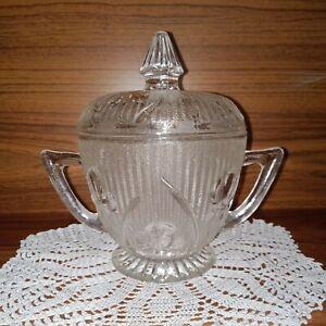 1955 Glass Sugar Bowl & Lid by Australia Crown Crystal Glass Iris & Herringbone