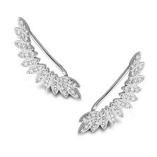 925 Sterling Silver Feather ear cuffs pins crawler climber earrings CZ UK Seller