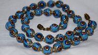 "Vintage Art Deco Venetian Murano Millefiori Blue Floral Glass Bead Necklace 18"""