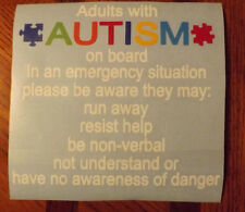 Adult With Autism Car Truck Decal Sticker - Alert Responders - Free Shipping