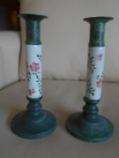 Shabby Chic Candlesticks, Green Wash W/Handpainted Ceramic Floral Tile Bodies!