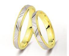 1 Paar Trauringe Gold 333 - Bicolor - Breite 3,5mm - Stärke 1,5mm - TOP Modell !