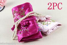 2 pcs Pretty Oriental Silk Organizer Jewelry Roll Travel Makeup Bag Case Pouch