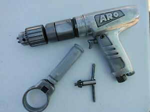 """ARO PNEUMATIC DRILL 7848-E 600 RPM JACOBS CHUCK 5/64"""" - 1/2"""" CAP handle and key"""