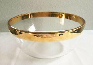 "Vintage Glass Salad Bowl w/ 5/8"" wide Gold Rim Band ~ Nice"