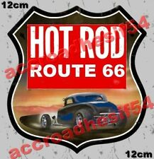 AUTOCOLLANT / STICKER HOT ROD ROUTE 66 CUSTOM 120 mm  harley, indian us