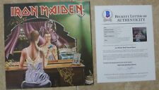 """Iron Maiden Twilight Zone X5 Band Signed 12"""" LP Single Display BECKETT Certified"""