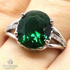 Vintage Oval Green Emerald Ring Wedding Nickel Free Jewelry Gift Size 6 to 9