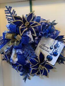 Blue Christmas Wreath, Poinsettia Wreath, Christmas Decor, Blue Decor, Wall Deco