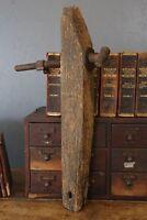 Antique Wood Vise Carpenters Workbench Threaded Vise Post Primitive Old
