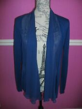 EPISODE 58% SILK & 42% WOOL  BLUE CARDIGAN LONG SLEEVES 100% SILK TRIM   S 8 10