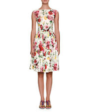 New  DOLCE & GABBANA  Rose Floral Print  Poplin Dress White Multi 44 IT