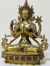 Old Tibetan Brass Buddhism Bodhisattva Padmapani Buddha Statue carved dragon
