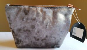 NEW Silver Velour Makeup Cosmetic Bag Gray Velvet Copper Tone Zipper Lined
