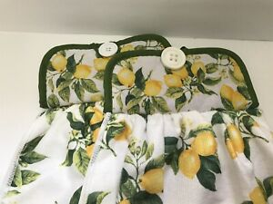 Lemons Fruit Hanging Dishcloth Handmade New Set Of 2 Microfiber