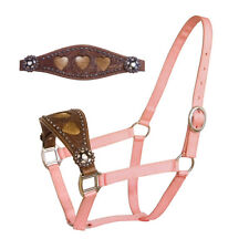 Western Pink Nylon Bronc Halter with Brass Hardware &Hand Carving : Pink Conchos