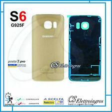 SCOCCA BACK COVER COPRI BATTERIA GOLD per SAMSUNG GALAXY S6 EDGE SM G925F + BIA