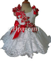 white red Infant/toddler/baby/children beading Pageant Dress079C with hairbow