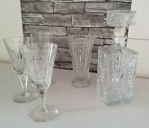 Whisky Cognac Karaffe Bleikristall Lausitzer Glas m. 3 Gläser & eine Vase