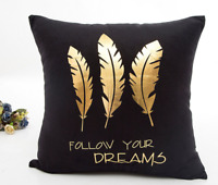 Gold Letters Pillow Cover Sofa Waist Cushion Cover Home Decor Throw Pillowcase