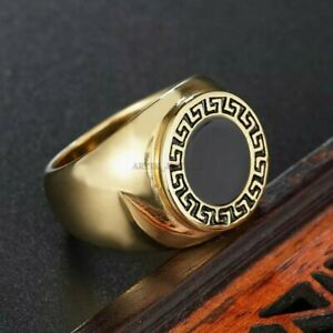 Natural Black Onyx Gemstone with Gold Plated 925 Sterling Silver Ring #1240