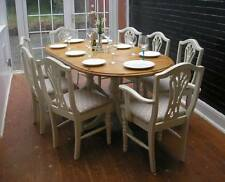 SHABBY CHIC 6.5ft SOLID PINE DUCAL DINING TABLE & 8 CHAIRS - FARROW & BALL