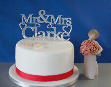 Personalised acrylic mirror Mr & Mrs wedding cake topper