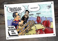 Shane Van Gisbergen Craig Lowndes Red Bull Racing Tin A4 cartoon Sign By Stonie