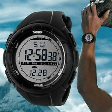 Chronograph Rubber Band Back Light Wrist Watch Sports Digital 30M Waterproof
