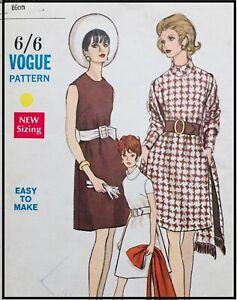 """Vintage VOGUE A-LINE LOOSE FIT DRESS & STOLE Sewing Pattern BUST 34"""" (V7439)"""